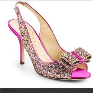 Kate Spade Pink MultiColor Glitter Slingback Heels